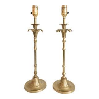 Palm Beach Brass Bamboo Buffet Lamps - A Pair
