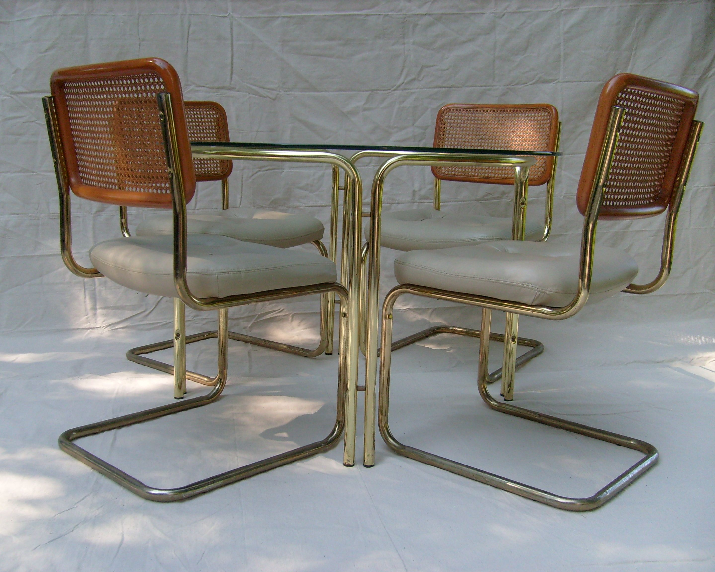 Brass Amp Glass Dining Table Amp 4 Cesca Style Chairs Chairish