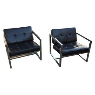 Modernist Black Vinyl & Chrome Chairs - Pair