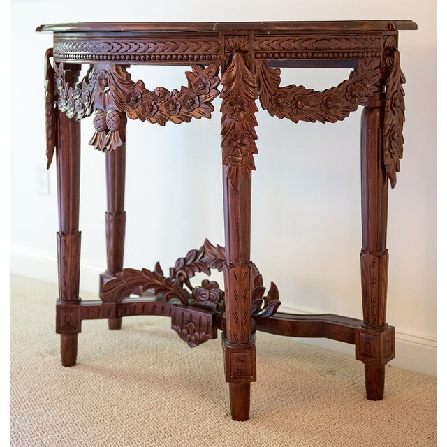 Carved Rosewood Stained Thai Console Table - Image 3 of 4