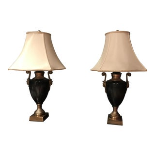 Traditional Marble & Silk Table Lamps - A Pair