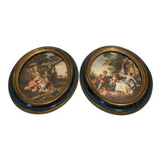 Oval Framed Renaissance Prints - A Pair