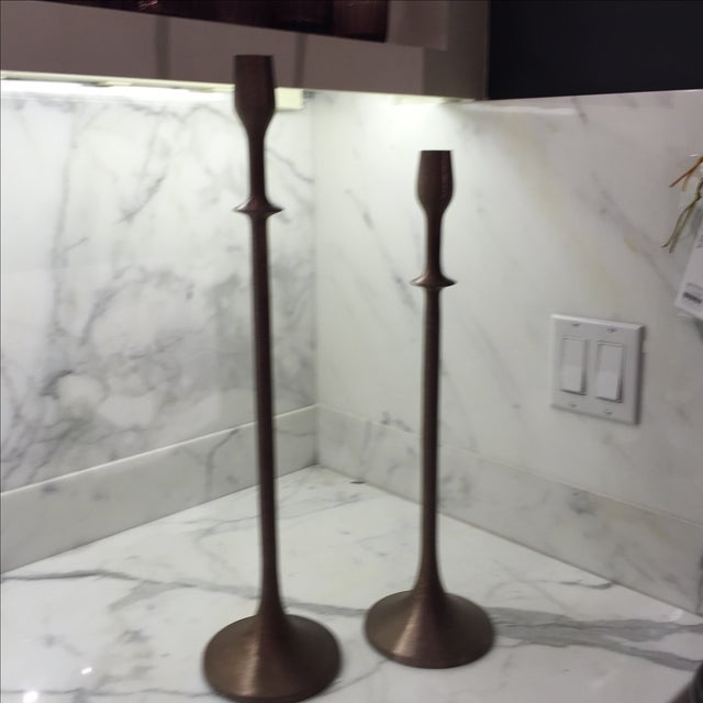 """Image of Interlude 22"""" Brushed Copper Candlestick"""