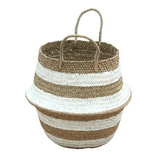 Brunna Stripes Tribes Straw Basket Bag, in White - Handmade in Bali