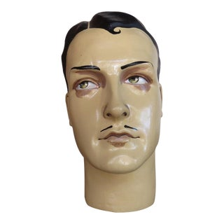 Vintage French Male Mannequin Head, Art Deco Style