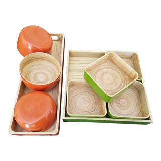 Lacquered Bamboo Appetizer Trays - Set of 9