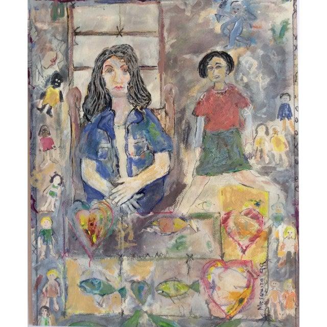 "Rosalyn Mesquita ""Dolls"" Mixed Media Painting - Image 1 of 3"