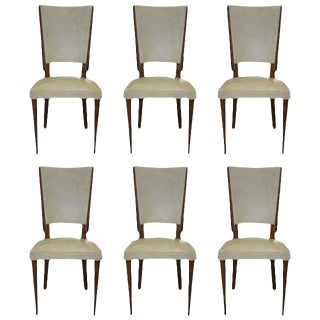Beautiful Set of Six French Art Deco Solid Mahogany Dining Chairs, circa 1940s.