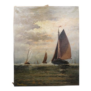 Untitled Sailboats on Water Oil on Canvas c.1874-1943