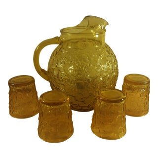 Anchor Hocking Lido Amber Pitcher & Tumblers - Set of 5