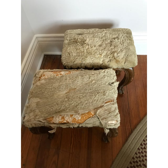 Fur-Topped Distressed Antique Footstools - A Pair - Image 6 of 7