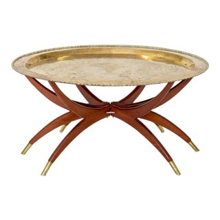 "Moroccan Brass Tray Table on ""Spider"" Base"