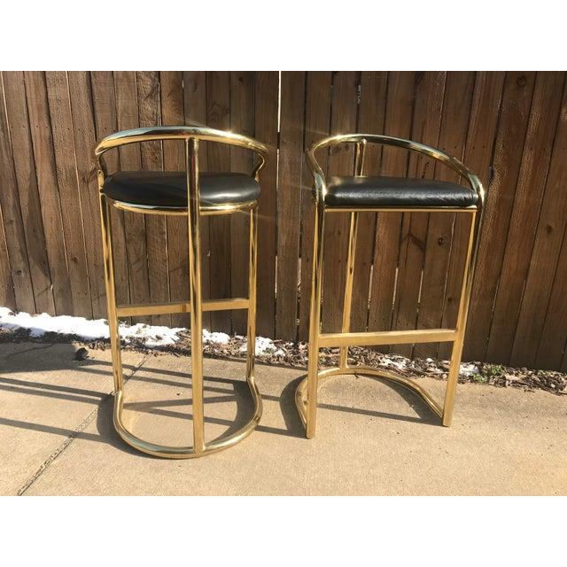 Milo Baughman Style Brass Bar Stools - A Pair - Image 3 of 7