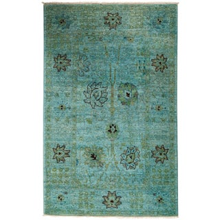 """Vibrance, Hand Knotted Teal Floral Wool Area Rug - 4' 1"""" X 6' 5"""""""