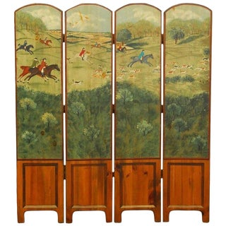 English Hand-Painted Fox Hunt Wooden Dressing Screen