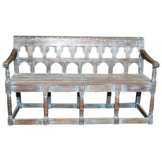 Vintage Distressed Blue Mudejar Bench