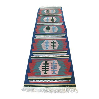 Vintage Turkish Kilim Navajo Wool Runner 9' x 2.5'