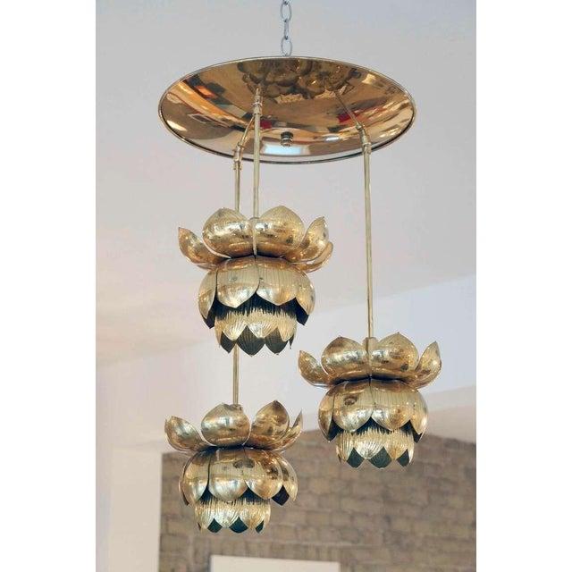 Image of Triple Light Brass Lotus Pendant