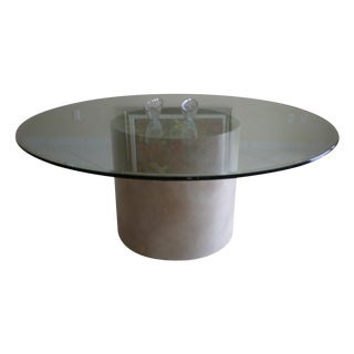 Round Glass Table on Faux Marble Base