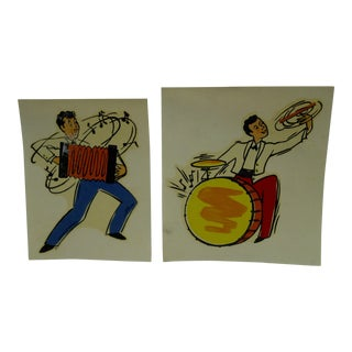 "Vintage 1930s Decal / Wall Decorations ""Accordian & Drummer"" the Meyercord Co. Chicago - a Pair"