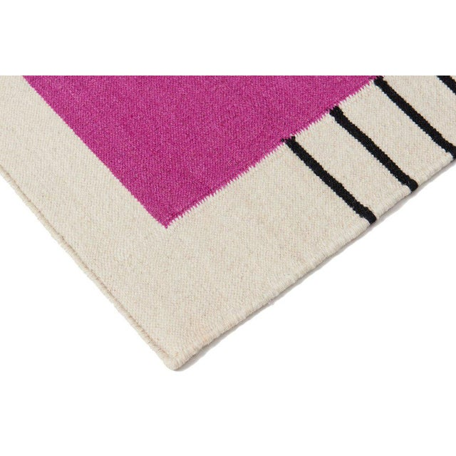 Flatwoven Dhurrie Pink on Black & White Striped Rug - 8′ × 10′ - Image 2 of 6