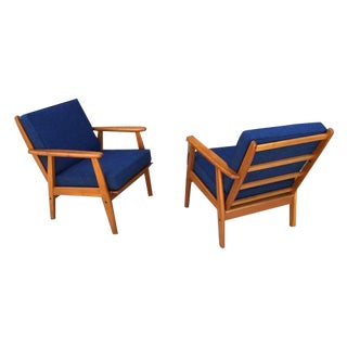 1960's MCM Danish Teak Lounge Chairs - Pair