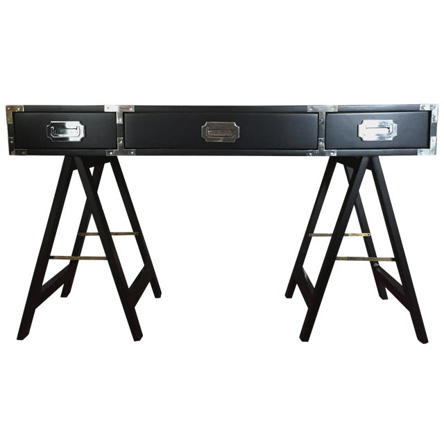 Lacquered in Black Campaign Desk with Chrome and Brass Hardware - Image 1 of 6