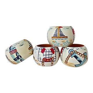 Nautical Hand-Painted Napkin Rings- Set of 4
