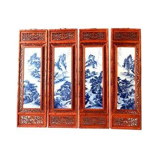Landscape B & W Porcelain Wood Panels, S/4