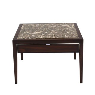 Square Marble-Top Walnut One Drawer Side Table