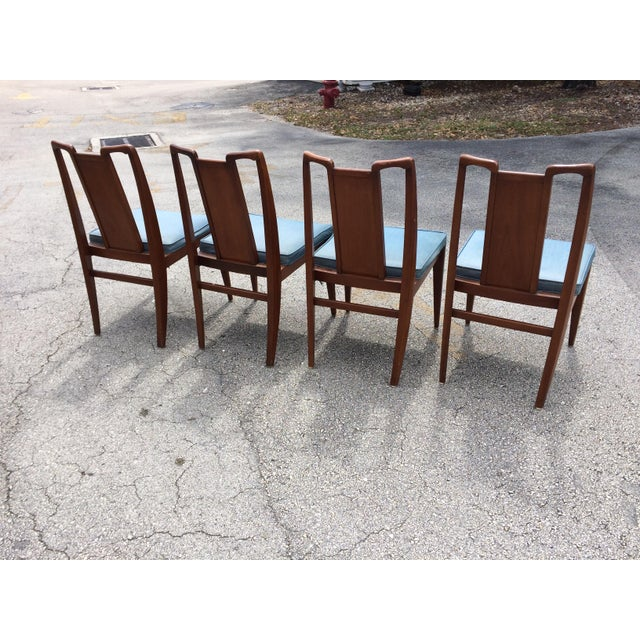 Mid-Century Modern Curved Burl Wood Dining Chairs- Set of 4 - Image 5 of 10