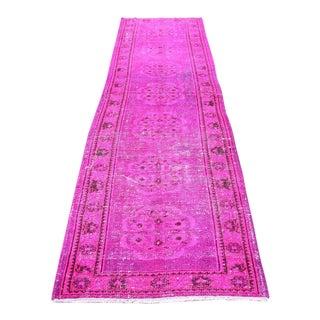 Turkish Vintage Pink Hallway Rug - 3′ × 11′