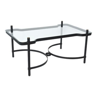 French Modern Iron, Brass and Glass Low Table, Jacques Adnet