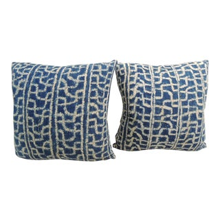 "Pair of 19th Century Blue and White ""Ndop"" Woven Textile Decorative Pillows."