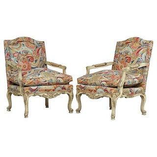 Louis XV Style Armchairs - Pair