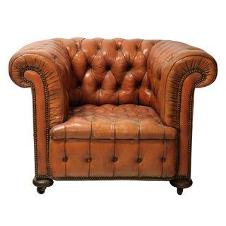 Vintage Chesterfield Leather Tufted Club Chair