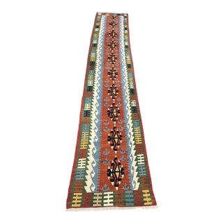 Handmade Turkish Flat Woven Kilim Runner - 3'2'' x17'1''