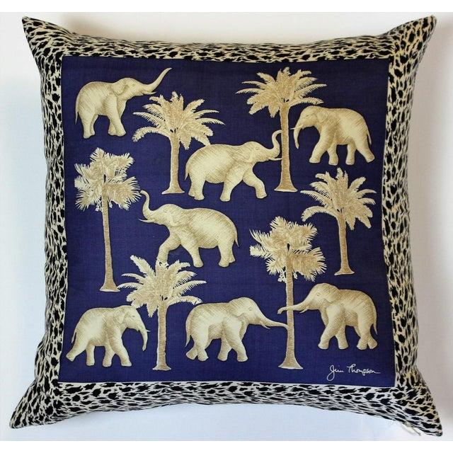 Blue Jim Thompson Thai Elephant Pillow Chairish