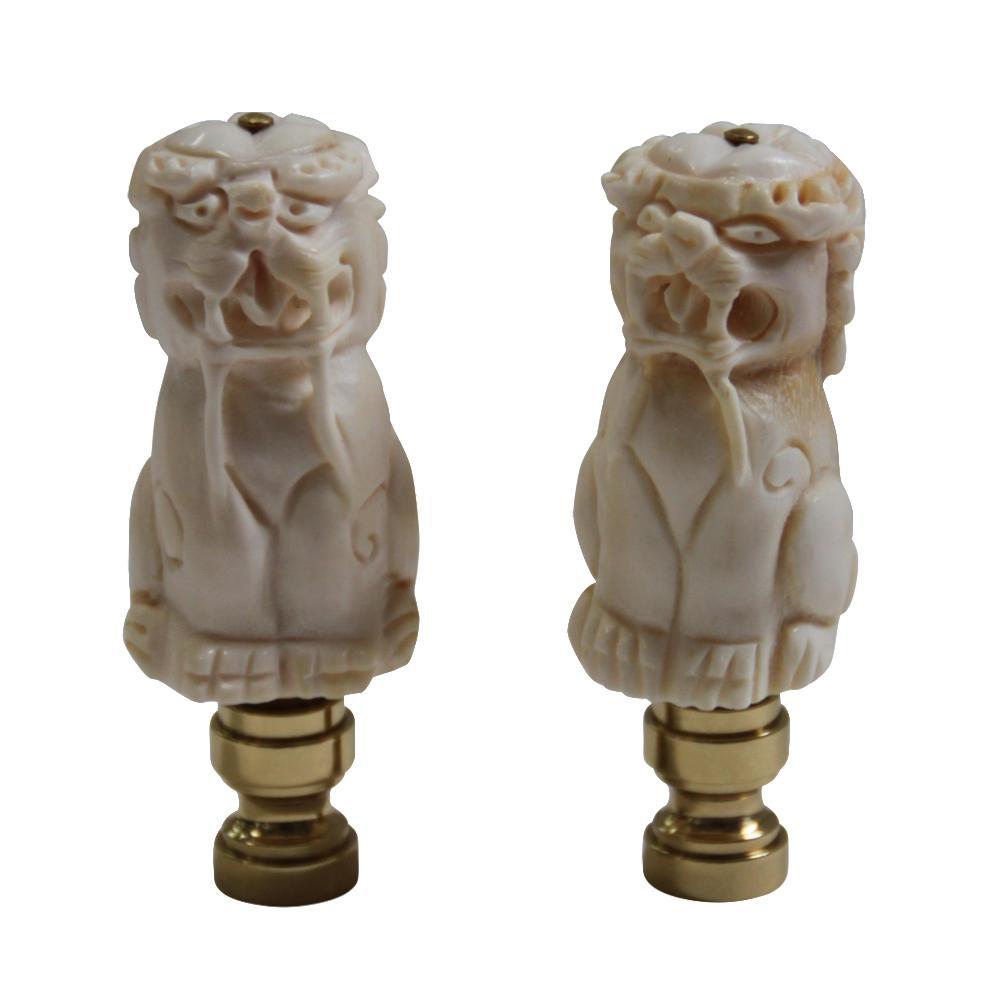 Bone Carved Chinese Foo Dog Lamp Finials A Pair Chairish