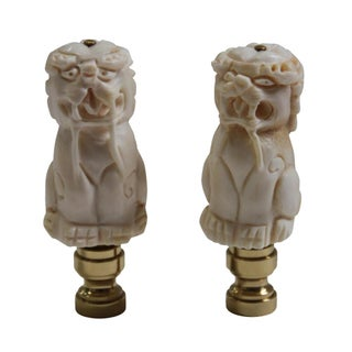 Bone Carved Chinese Foo Dog Lamp Finials - A Pair