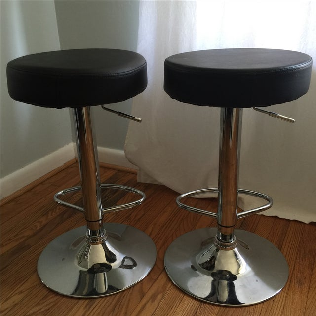 Leather & Chrome Adjustable Bar Stools - A Pair - Image 5 of 6