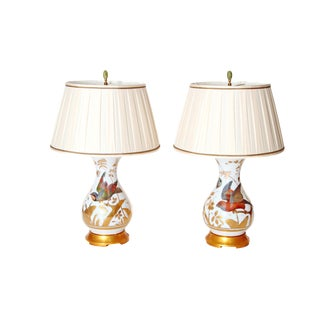 Hand-painted and Gilded French Opaline Vases as Custom Lamps / PAIR