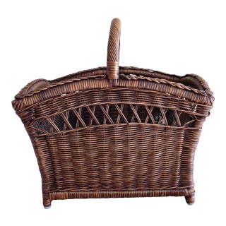 Boho Wood Wicker Basket