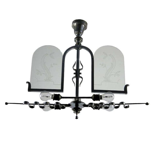 Italian Etched Glass Deco Chandelier - Image 1 of 9