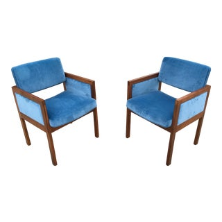 Robert John Walnut Arm Chairs in Blue Velvet