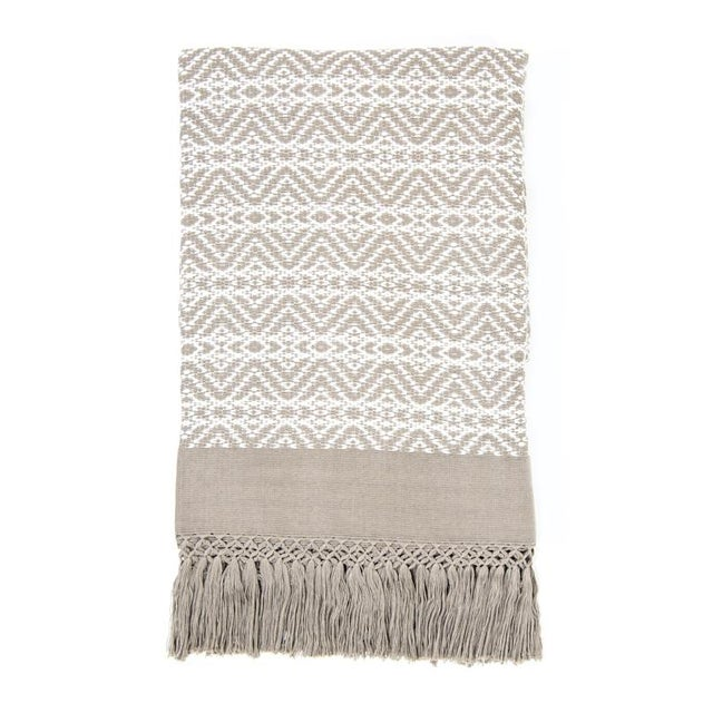 Image of Taupe and White Handwoven Chiapas Throw