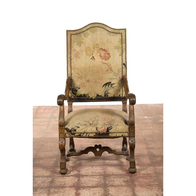 Antique Louis XIII Tapestry Armchairs - A Pair - Image 6 of 10