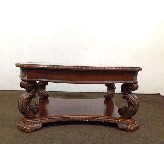 Rococo-Style Carved Mahogany Coffee Table - Image 3 of 7