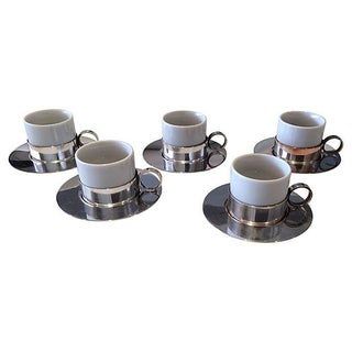 Silverplate Espresso Cups & Saucers - Set of 5