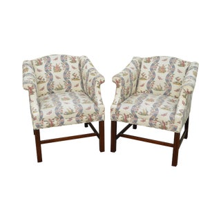 Custom Pair of Chippendale Style Mahogany Frame Club Chairs